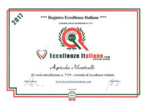 Attestati Eccellenze Italiane Agr. Monticelli-2017