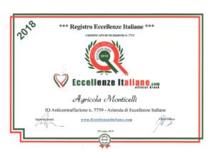 Attestati Eccellenze Italiane Agr. Monticelli-2018