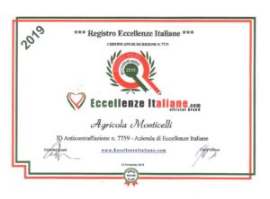 Attestati Eccellenze Italiane Agr. Monticelli-2019